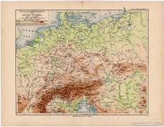 Közép - Európa térkép 1892, eredeti, német, régi