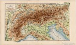 Alpok térkép 1892, hegy - és vízrajz, eredeti, német, régi