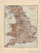Anglia és Wales térkép 1892, eredeti, német, régi
