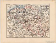 Belgium és Luxemburg térkép 1892, eredeti, német, régi