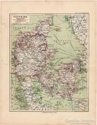 Dánia térkép 1892, eredeti, német, régi