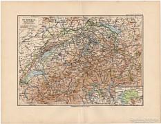 Svájc térkép 1892, eredeti, német, régi