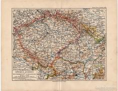Csehország, Morvaország térkép 1892, eredeti, német, régi