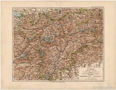 Tirol térkép 1892, eredeti, német, régi
