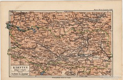 Karnten térkép 1892, eredeti, német, régi