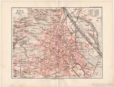 Bécs térkép 1892, eredeti, német, régi