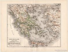 Görögország térkép 1892, eredeti, német, régi