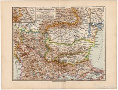 Románia, Bulgária, Szerbia és Montenegro térkép 1892