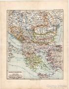 Balkán - Félsziget térkép 1892, eredeti, német, régi