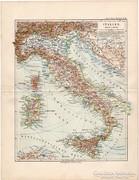 Olaszország (Itália) térkép 1892, eredeti, német, régi