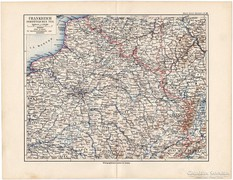 Északkelet - Franciaország térkép 1892, eredeti, német