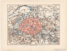 Párizs és környéke térkép 1892, eredeti, német, régi