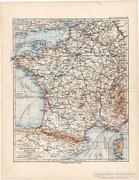 Franciaország térkép 1892, eredeti, német, régi