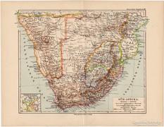 Dél - Afrika térkép 1892, eredeti, német, régi