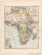 Afrika térkép 1892, eredeti, német, régi