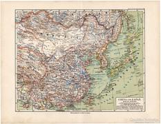Kína és Japán térkép 1892, német, eredeti, régi
