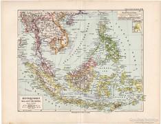 Indokína és Malajzia térkép 1892, német, eredeti, régi