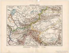 Közép - Ázsia térkép 1892, német, eredeti, régi
