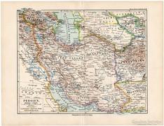 Perzsia térkép 1892, német, eredeti, régi