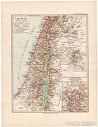 Palesztina térkép 1892, német, eredeti, régi