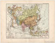 Ázsia térkép 1892, német nyelvű, eredeti, régi