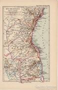 Dél - Brazília térkép 1892, eredeti, német, régi