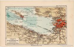 Szentpétervár és környéke térkép 1892, eredeti, német, régi