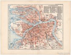 Szentpétervár térkép 1892, német, eredeti, régi