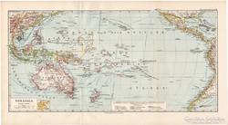 Óceánia (Ausztrália) térkép 1892, német, eredeti, régi