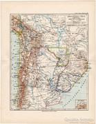 Argentína, Chile, Bolívia térkép 1892, német, eredeti, régi