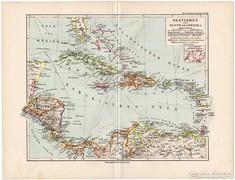 Nyugat-India és Közép - Amerika térkép 1892, német, eredeti