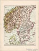 Svédország és Norvégia déli része, térkép 1892, német