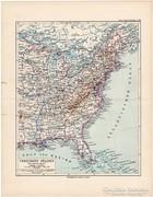 Amerikai Egyesült Államok, keleti part, térkép 1892, német