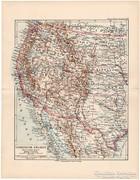 Amerikai Egyesült Államok, nyugati part, térkép 1892, német