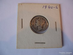 USA One Dime 1940 S Silver.