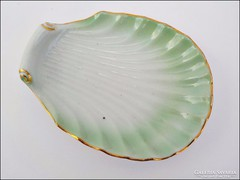 Régi Drasche aranyozott zöld kagyló ékszertartó tálka