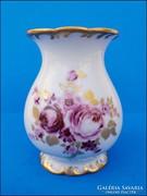 Wallendorf aranyozott , virágos  ibolyaváza , kisváza