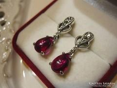Mesés antik ezüst rubin fülbevaló - markazitos, filigrán