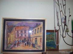 Bánfi szignós Utcai jelenet. Pasztell 30x40 cm kerettel