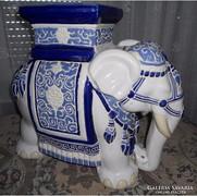 Kerámia elefánt - kék-fehér majolika nagyméretű!