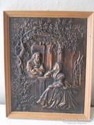 Gyönyörű antik bronz  vagy réz falikép.
