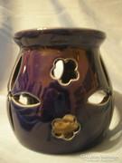 Zafírkék  áttörtmintás porcelán mécses-gyertyatartó