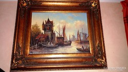 NP.  aláírással, antik festmény, GYÖNYÖRŰ antik keretben!!!