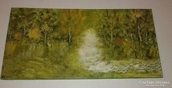 Vízesés az erdőben, olaj - vászon, 30 x 60 cm