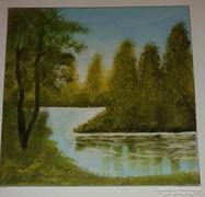 A vízparton, olaj-vászon, 30 x 30 cm