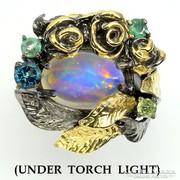 Nagy Meret Tuz Opal Smaragd Peridot Topaz 925 Ezust Gyuru