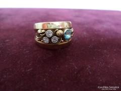 Gyémánt turmalin arany gyűrű