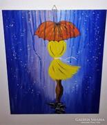 Esernyős lány, modern, farostra festett akril kép