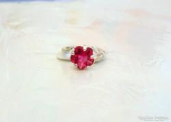 Gyönyörű,silver filed,pink virág gyűrű.
