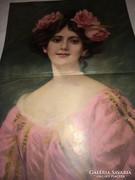 Csodálatos 120 éves antik nyomtatott kép 57cmx 40,5cm